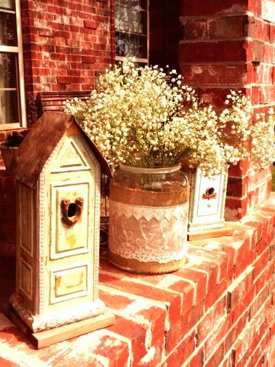 Birdhouse Baby's Breath Flower Delicate Pretty Brick Wall
