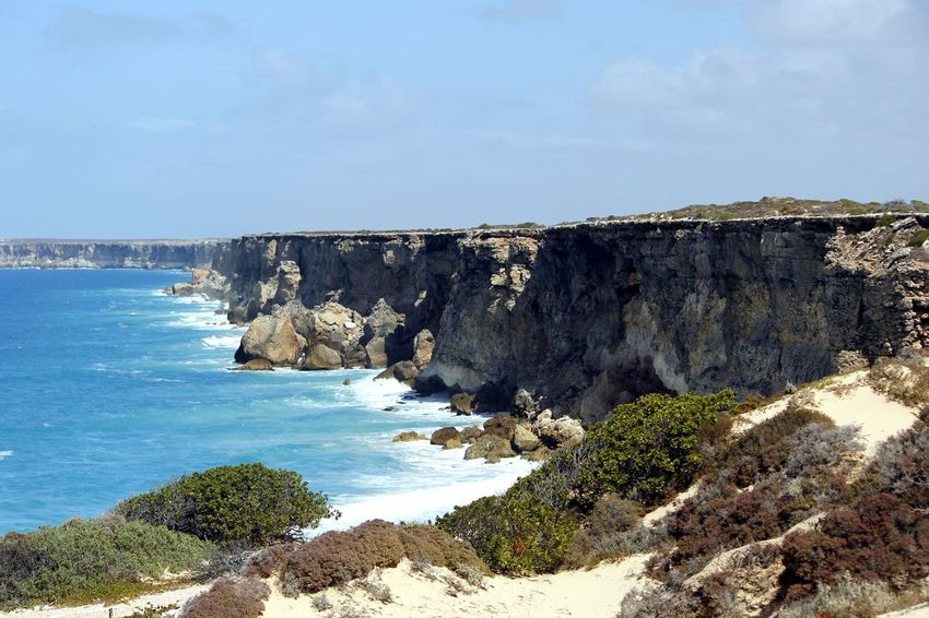 Beach Beauty In Nature Bunda Cliffs Day Great Australian Bight Head Of Bight Horizon Over Water Landscape Nature No People Nullarbor Plain Outdoors Scenics Sea Sky Water