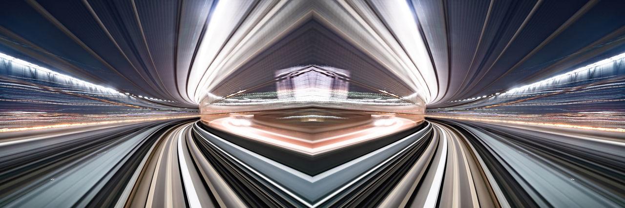 Digital composite image of light trails