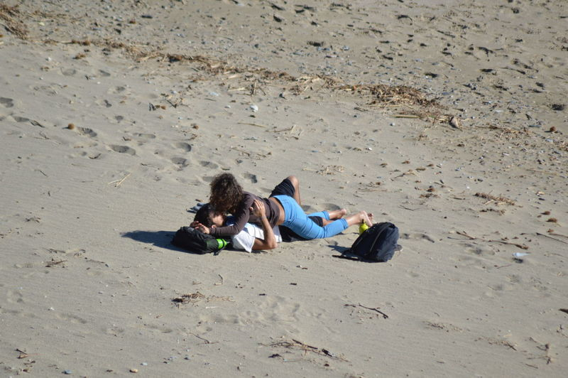 High angle view of two people on beach