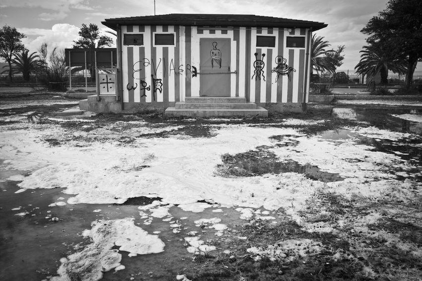 Architecture Black Blackandwhite Built Structure Cagliari Day Foam Kiosk Nature No People Outdoors Poetto Salt Sardegna Sky Tree Water