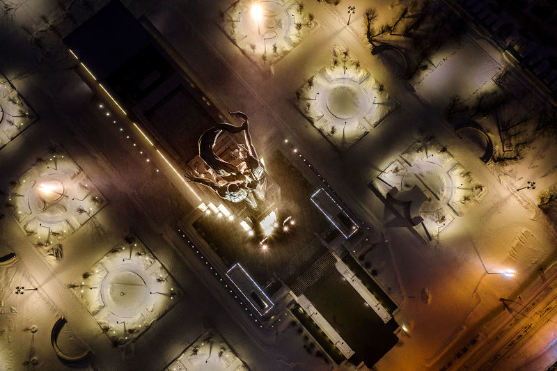 High angle view of illuminated lighting equipment on table