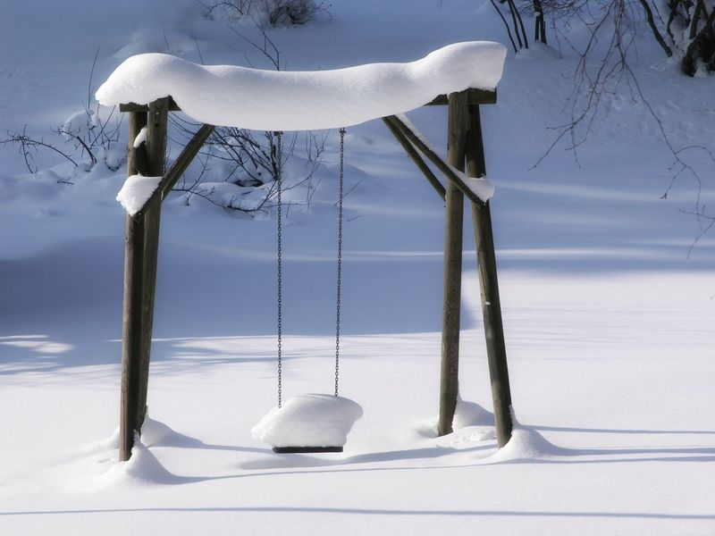 Playground Swing Playground Winterwonderland Winter_collection Nature Sky Winter Snow Day Outdoors Swing Tranquility Snowy Close-up No People Snow Covered White Color Animal Themes Cold Temperature EyeEmNewHere Stillness In Nature Shades Of Winter