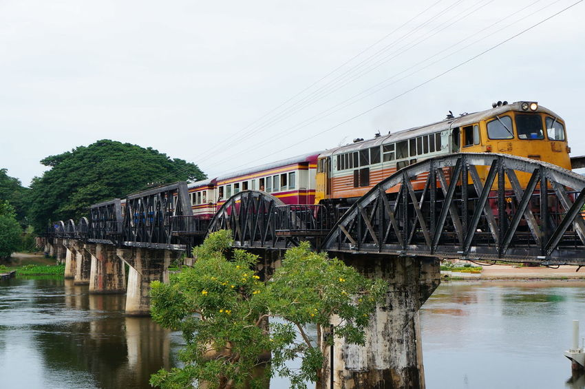 Architecture Bridge - Man Made Structure Built Structure Kanchanaburi Mode Of Transport Outdoors Railway Bridge River Thailand Train Transportation Travel Water
