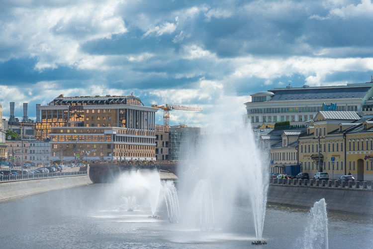 Architecture Building Exterior Built Structure Cloud - Sky City Water Sky Day Motion Nature Fountain Outdoors Spraying Incidental People Travel Destinations Steam Heat - Temperature Power In Nature Moscow Russia