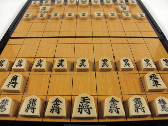 shogi (japanese chess) Japan Japanese  Chess Board Chinese Characters Cultures High Angle View Indoors  Japanese Chess Shogi Traditional Game