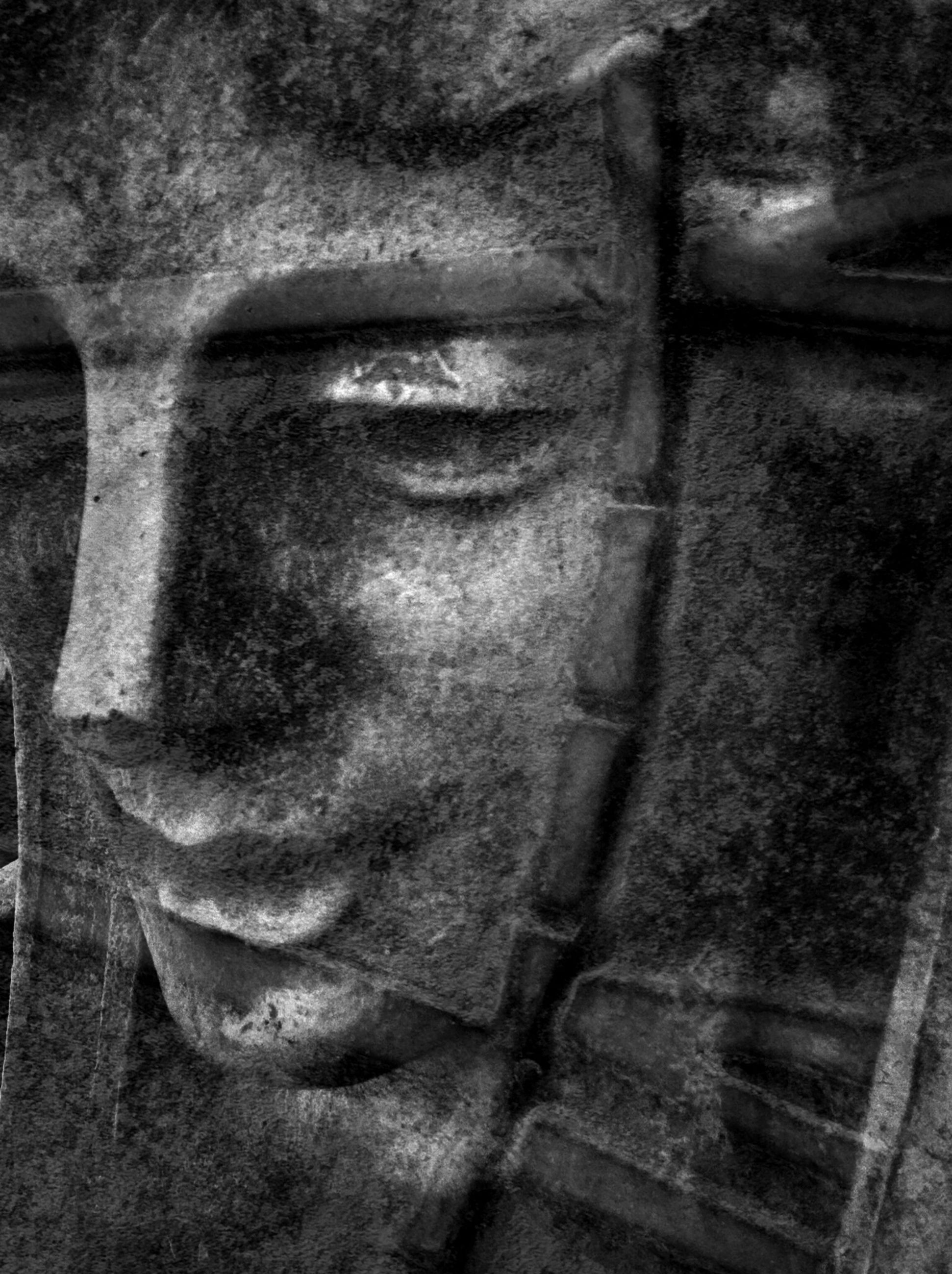 close-up, indoors, art, art and craft, human representation, statue, creativity, sculpture, lifestyles, wall - building feature, history, human face, religion, old, focus on foreground, young adult, front view