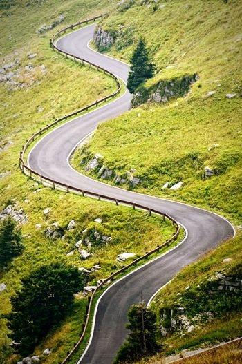 High Angle View Of Curvy Road