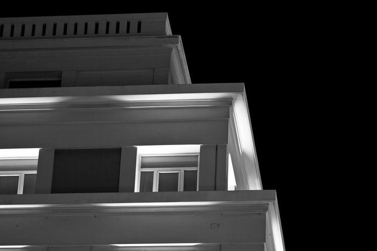 Building exterior in downtown Athens. Architecture Artificial Light Athens, Greece Black & White Architecture Athens Black And White Black Background Blackandwhite Blackandwhite Photography Building Building Exterior Close-up Day No People