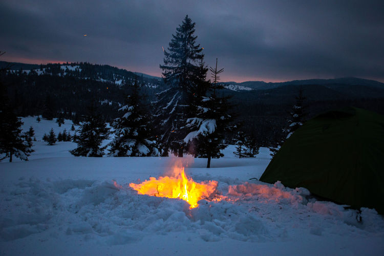 Burning Fire Snow Flame Fire - Natural Phenomenon Winter Heat - Temperature Land Nature Mountain Tree Cloud - Sky Sky Scenics - Nature Dusk Environment Illuminated Glowing Bonfire Campfire Outdoors Snowcapped Mountain Warm Clothing Camping Night