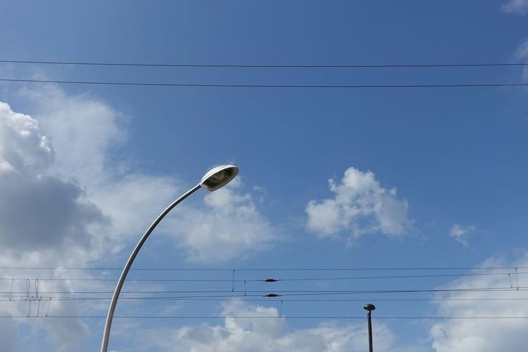 Blue Wave Enjoying The Sun Summer Clouds And Sky Lines Overhead Wire Overhead Line Lantern Blue Sky(nearly) -