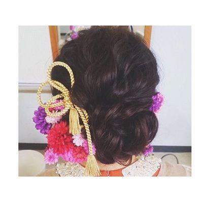 和髪ウェーブ!♡ 帯締めが可愛い!♡ 波ウェーブ 神4コンテスト ヘアセット アレンジ Hair セットサロン ゼット ヘアアレンジ