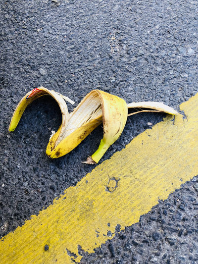 Banana Banana Peel Careless City Close-up Communication Day Food Food And Drink Footpath Fruit Healthy Eating High Angle View Misfortune No People Outdoors Peel Sign Slippery Street Warning Sign Yellow