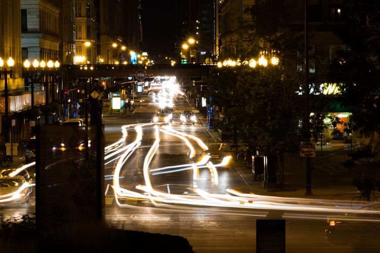 Long exposure at the heart of Chicago Night Illuminated Street Light Trail Outdoors No People Water Tree City Long Exposure Lost In The Landscape