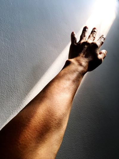 Reaching for the future Human Hand Human Body Part Hand Real People One Person Body Part 17.62° Human Limb Finger Human Finger Sunlight Personal Perspective Men Unrecognizable Person Touching Close-up
