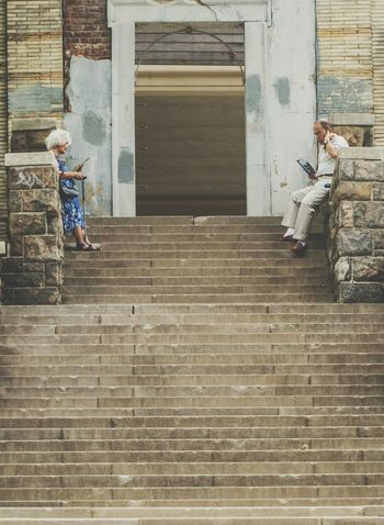 Standing at the top of the stairs. Elderly Old Buildings Steps Summer2015 Summer The Street Photographer - 2015 EyeEm Awards Urbanphotography Check This Out