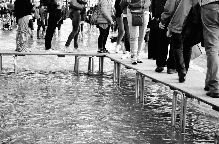 Staying Dry Acqua Alta City Life Crowd Day Flooding Footpath Italy Outdoors Platform Steps The Way Forward Venice Walking Water Waterfront