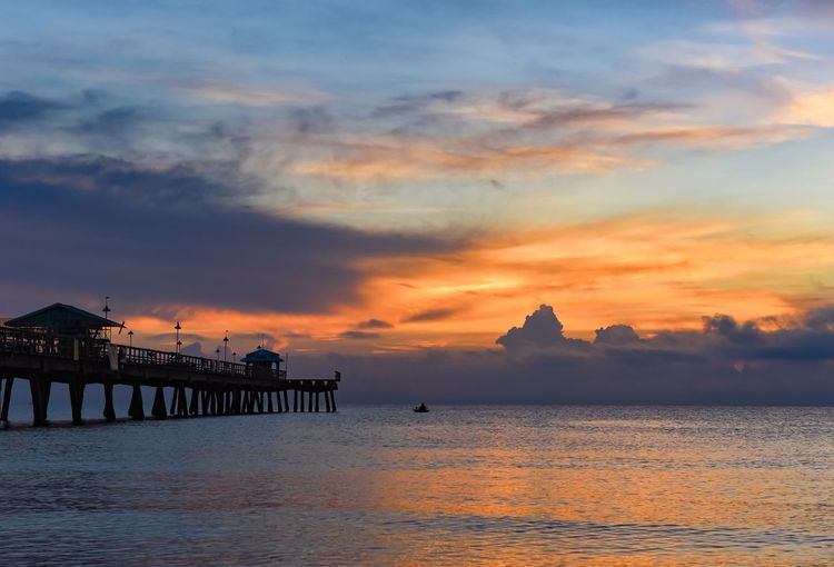 Florida Lanscape Sunrise Sunrise_sunsets_aroundworld Tropical Vacation Beach EyeEm Selects Water Sky Architecture Sunset Built Structure Cloud - Sky Sea Beauty In Nature Nature Waterfront Scenics - Nature Pier Tranquility Outdoors Orange Color