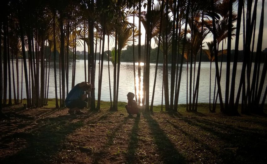 Father and son Tree Water Lake Agriculture Full Length Sky Grass Lakeshore Tranquil Scene Silhouette Tranquility Horizon Over Water Outline Sunset Shore Calm Scenics
