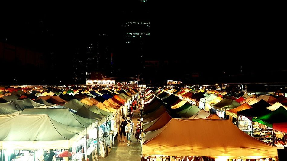 Large Group Of People Crowd Night Market Outdoors Colour Your Horizn
