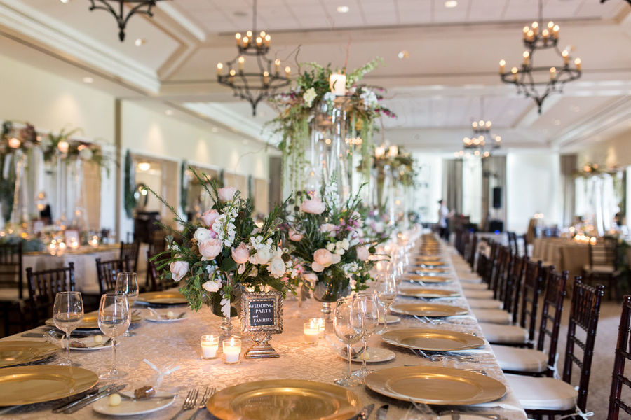 Absence Arrangement Decoration Elégance Empty Floral Florals Flower Flowers Glass Gold Illuminated In A Row Large Group Of Objects Lighting Equipment Place Setting Table Tables Tables And Chairs Tablescape Tablesetting Variation Wedding Wine Wood