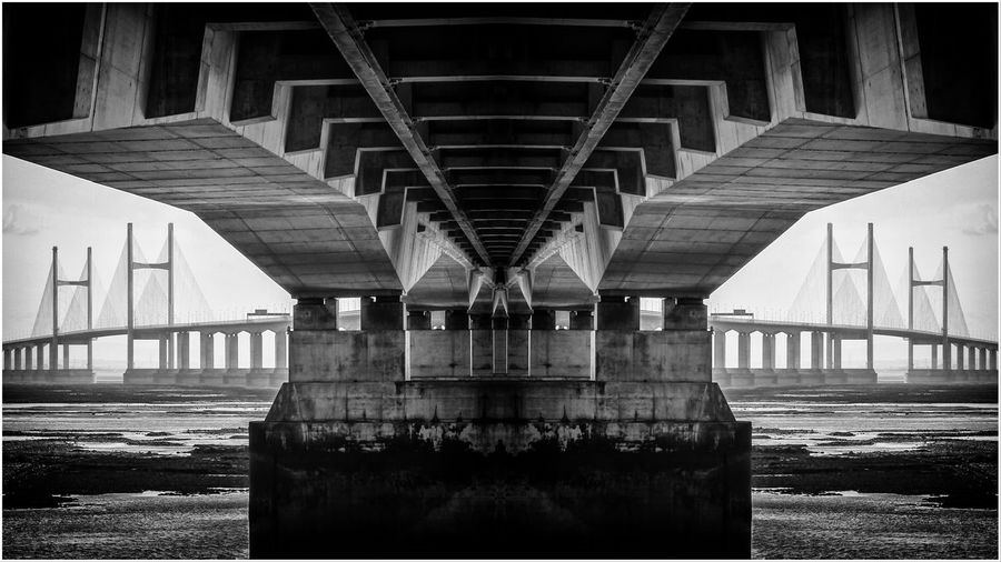 Second Severn Crossing - Prince Charles Bridge The Architect - 2018 EyeEm Awards Architectural Column Architecture Auto Post Production Filter Below Bridge Bridge - Man Made Structure Built Structure City Connection Day Girder Long Nature No People Outdoors River Transfer Print Transportation Underneath Water