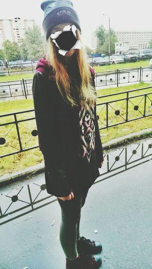 Girl Walking Around Strange Fashion Colour Girl