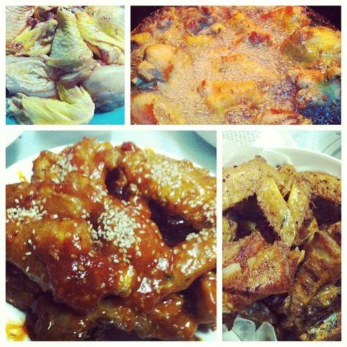 yang nyeom tong dak i madeeeeeee Korean Foodporn Hotwing Chickenfried