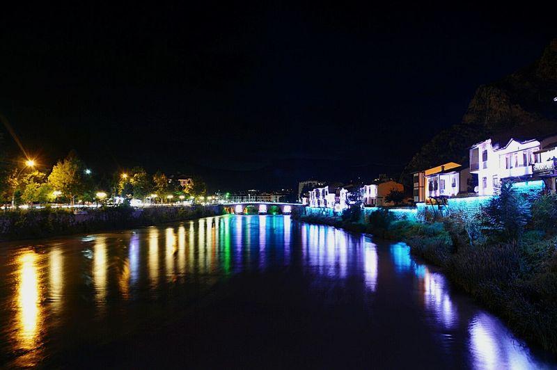 Night Illuminated Reflection Water Building Exterior Tradition Nightlife