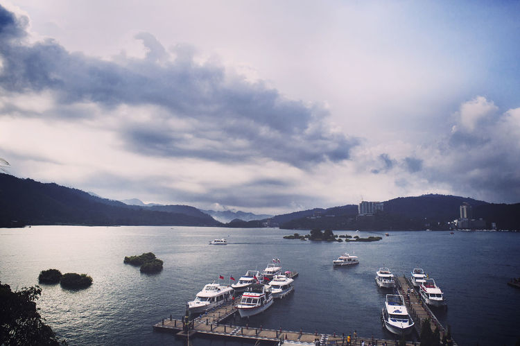 24mm F2.8 Beauty In Nature Cloud - Sky D700 Day HDR HDR Collection Hdr_Collection Horizontal Jin Moored Mountain Nature Nautical Vessel Nikon No People Outdoors Pedal Boat Scenics Sky Sunmoonlake Taiwan Travel Destinations Water 日月潭