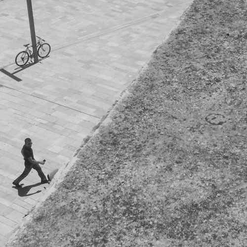 Man and Bicycle . Blackandwhite Black And White Architecture Summer Light Mobilephotography Odetomycity Myalbania