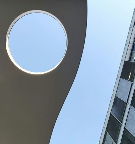 Lookup Outdoors City Built Structure Art Is Everywhere Modern Architecture Art Interior Design The Secret Spaces Urban Geometry Building Concrete Lines Round Architecture Sky Circle Roof Full Frame Façade Wall Windows Triangle Skyscraper From My Point Of View Curve