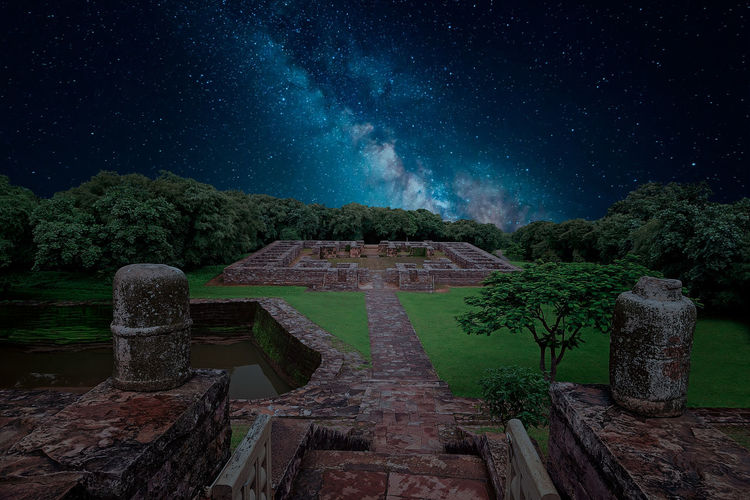 Built structure against sky at night in sanchi heritage complex