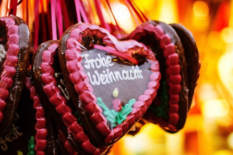 Outside Heart Shape Love Close-up Gingerbread Christmastime Christmas Market Christmas Decoration Wintertime Merry Christmas Heart Celebration Event Sweet Food Sweets