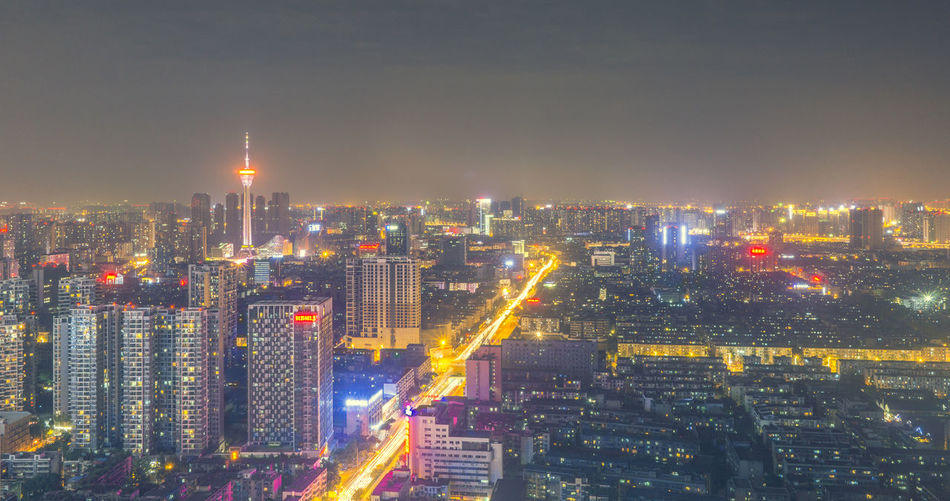 成都 ChengDu Urban Skyline Illuminated Modern Skyscraper Neon Business Downtown District Panoramic Tower