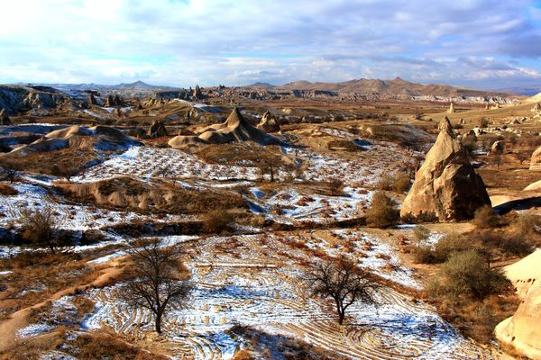 Cappadocia in Central Anatolia (Turkey) ASIA Brown Nature Cappadocia Central Anatolia, Turkey Cloud - Sky Geology Göreme Impressive View Kappadokien Landscape Mountain Mountains And Sky Nature Nature Parks Landscape Outdoors Physical Geography Scenics Snow Tranquil Scene Tranquility Travel Destinations Turkey Türkei Türkiye Winter