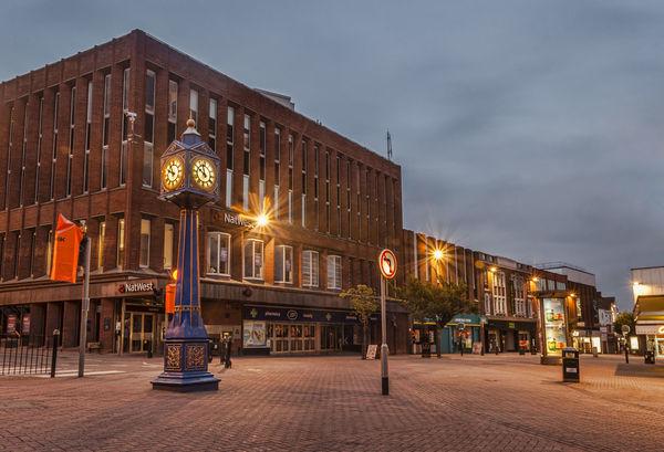 The Blue Clock, Hanley, Stoke on Trent Architecture Blue Building Built Structure City City Centre City Life Clock Famous Place Hanley Hanley Blue Clock International Landmark Modern Night Outdoors Stoke Stoke-on-Trent Street Street Light
