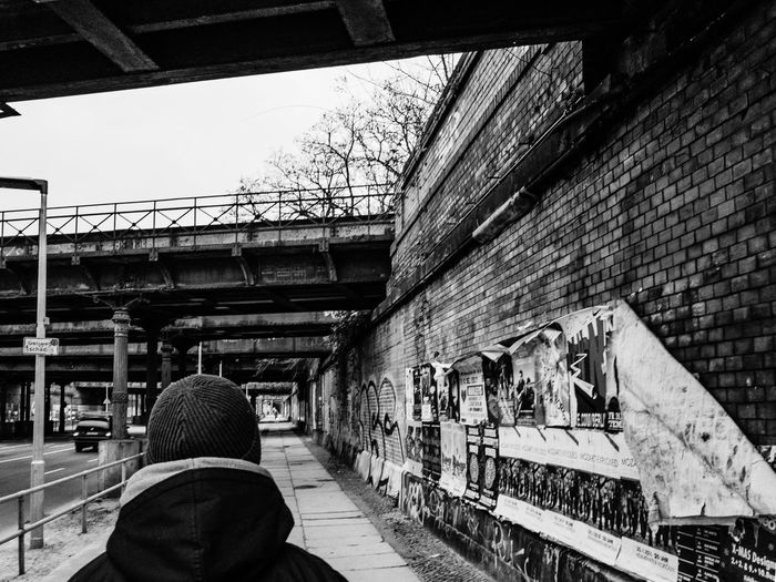 Under the bridges Bricks Wall West Berlin Bridges Real People Built Structure Rear View Architecture Men Bridge - Man Made Structure Day One Person Outdoors Adult People