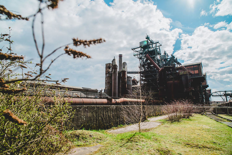 Landschaftspark Industrial Abandoned Architecture Building Exterior Built Structure Cloud - Sky Damaged Day Deterioration Factory Field Grass Industry Land Metal Nature No People Outdoors Plant Pollution Sky Transportation Tree