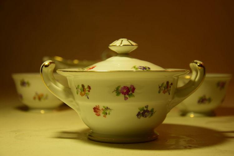 Close-Up Of Tea Set On Table