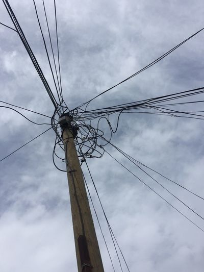 Cloud - Sky Wire Cable Connection Power Supply Electricity  Low Angle View
