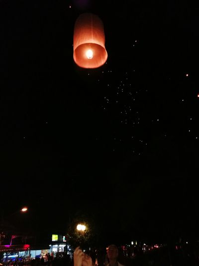 Happy New year Night Sky Outdoors Balloon Fire New Year Around The World Thailand