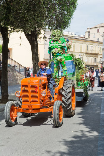 Chieti, Italy - May 08, 2016: folk parade in the streets of Chieti Abruzzo Chieti Festival Folk Folklore March Parade People Street Tractor Village