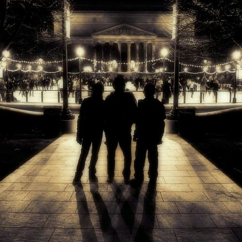 People Black And White Winter Silhouette Night Lights Friendship
