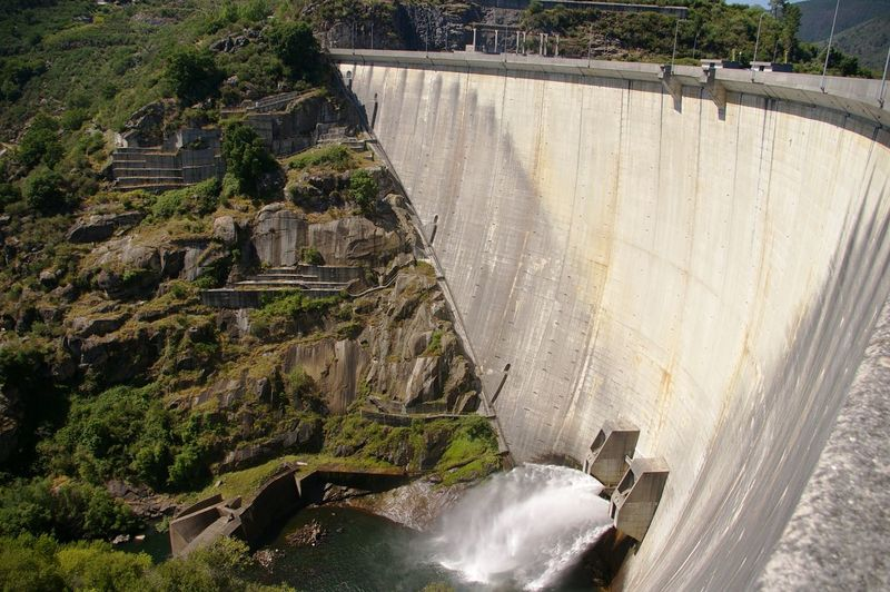 Built Structure Dam Floodgate Flowing Water Mountain Portugal Rio Lima River Water Waterfall