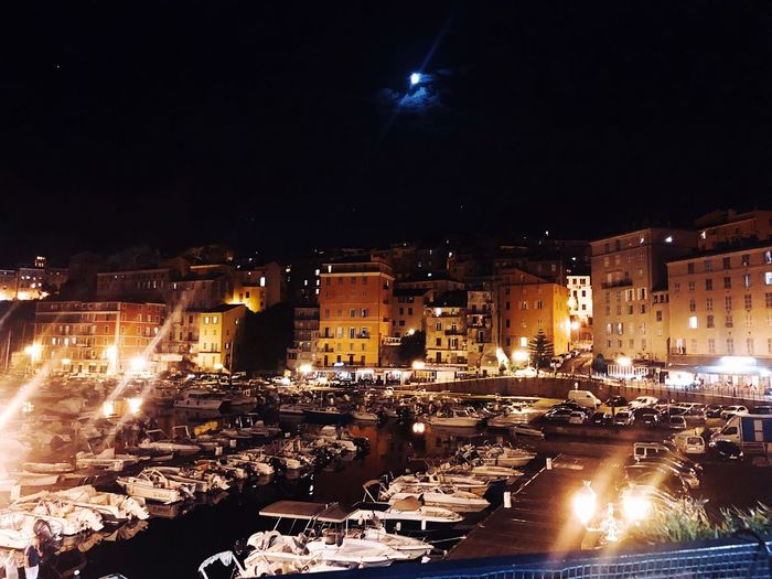 Moon Boat Old Town Vieux Port Bastia Night Illuminated Building Exterior Architecture Built Structure City Water Sky