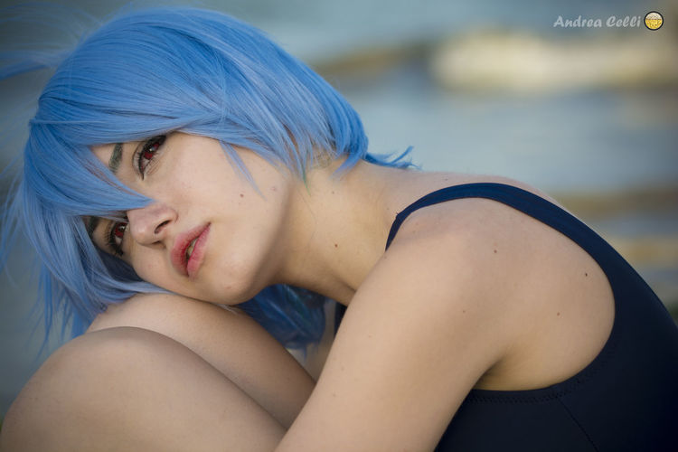 Anime Cosplay Manga Rimini Beach Cosplay Girls Cosplayer Cosplaying Costume Evangelion Girl Hairstyle Portrait Portrait Photography Reiayanami
