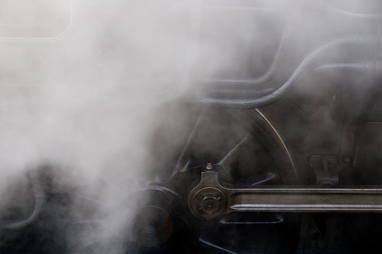 Smoke emitting from train