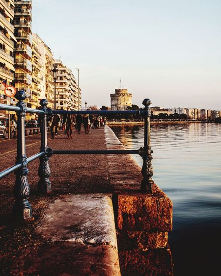 Sea Sky White Tower Thessaloniki Buildings Texture EyeEm Selects Water Cityscape Gondola - Traditional Boat Urban Skyline Bridge - Man Made Structure Sky Architecture Building Exterior Built Structure
