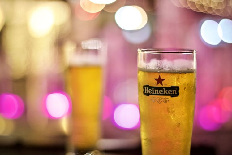 Refreshment Drink Food And Drink Drinking Glass Alcohol Household Equipment Close-up Focus On Foreground Glass Beer Beer - Alcohol Illuminated Night Text No People Bottle Indoors  Freshness Food Nightlife Purple